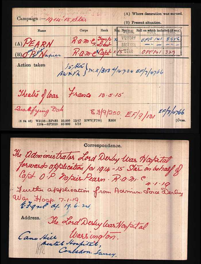 Oscar Pearn's WW1 medal card, ref: WO372/15/173815. Image reproduced courtesy of Ancestry and The National Archives, licensed under Open Government Licence v2.0